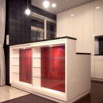 東京のオーダー家具ユウキが作った背板にチンチラ布を使ったカウンター下収納