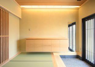 1枚板の銘木を天板に使った玄関収納