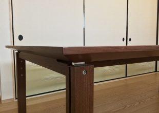 ウオールナット材無垢で作ったダイニングテーブル