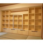 東京のオーダー家具ユウキが作った畳を傷付けないワゴンがついたお子様用収納