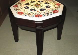 テーブル・デスク タージマハル製の大理石を使用したサイドテーブル